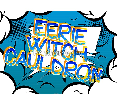 eerie witch cauldron comic book style