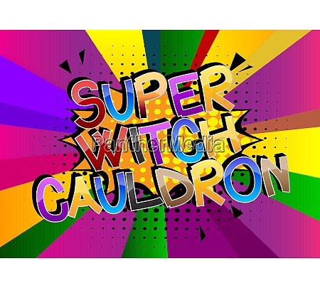 super witch cauldron comic book style
