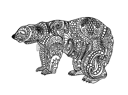 the bear is black and white