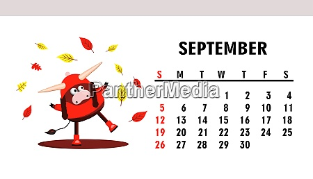 september 2021 horizontal calendar with bulls
