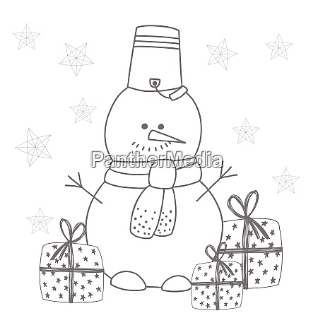 snowman coloring sculpture from snow childrens