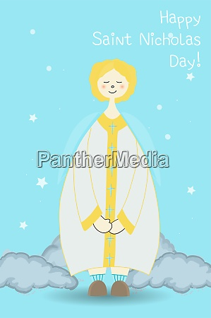 angel winter religious character christianity postcard
