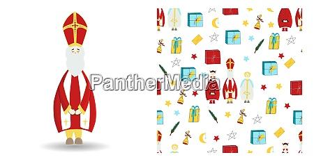 set of festive illustration saint nicholas