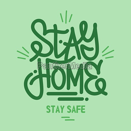 green word stay home lettering typography