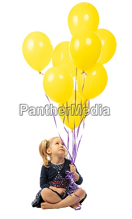 caucasian blond little girl with yellow