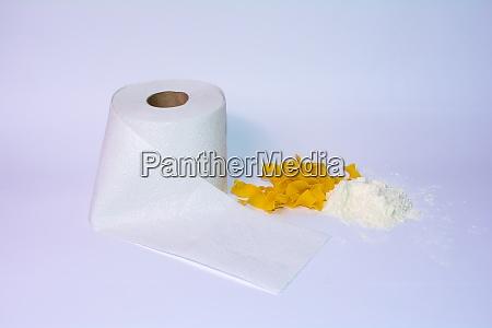 toilet paper pasta and flour on