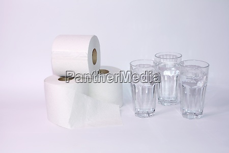 toilet paper rolls with three glasses