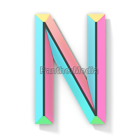 neon color bright font letter n