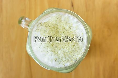 matcha green tea beverage and milk