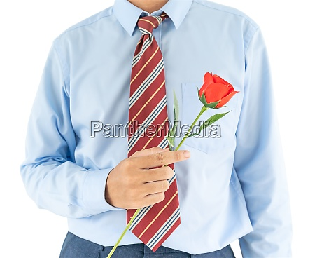 man holding with red rose on