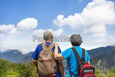 rear view senior couple