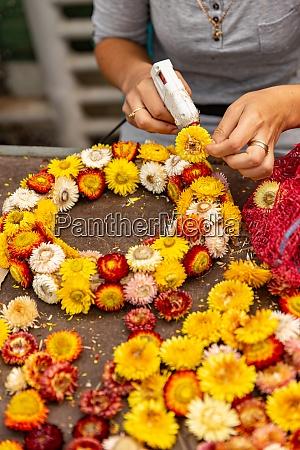 making wreath autumn colorful strawflower