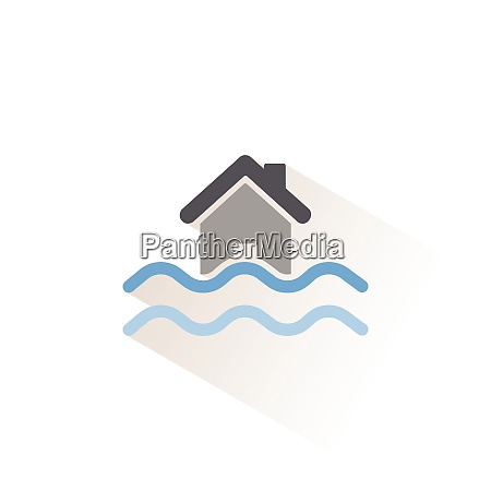 flood isolated color icon weather vector