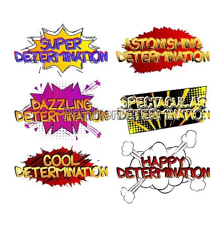 determination comic book style cartoon words
