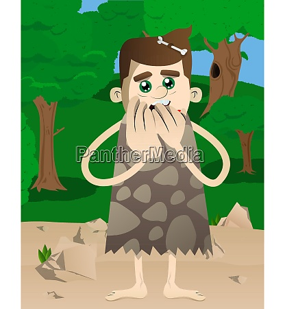 cartoon caveman with hands over mouth