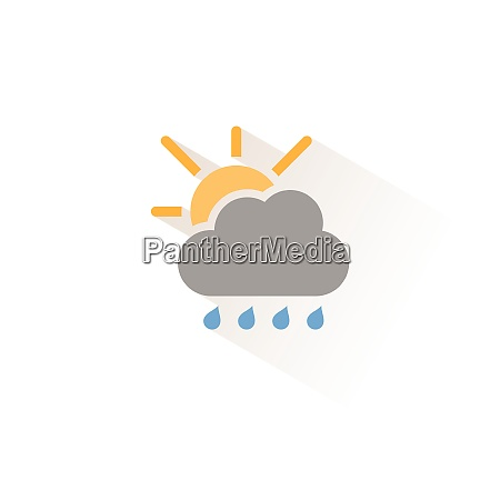 raindrops cloud and sun isolated color