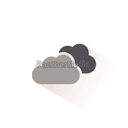 overcast isolated color icon weather vector