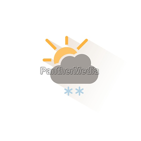 snow cloud and sun isolated color