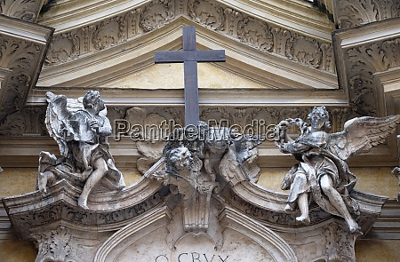angels and cross facade of santa