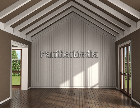 empty living room with wooden wall