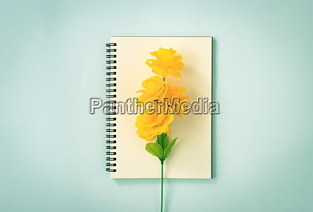 spiral notebook and orange flowers at
