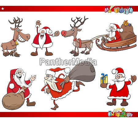 cartoon santa claus christmas holidays characters