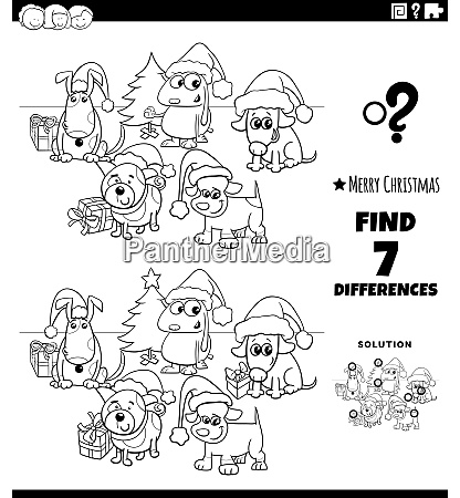 differences game with dogs on christmas