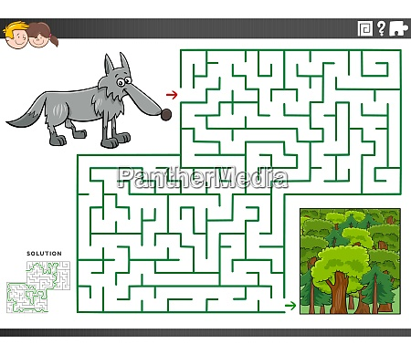 maze educational game with wolf and