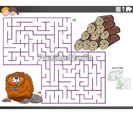 maze educational game with beaver and