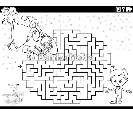 maze game with funny santa claus