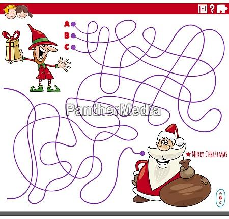 educational maze game with cartoon christmas