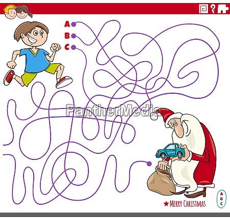educational maze game with cartoon santa