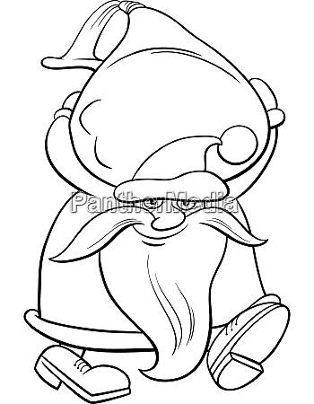 cartoon santa claus carrying sack of