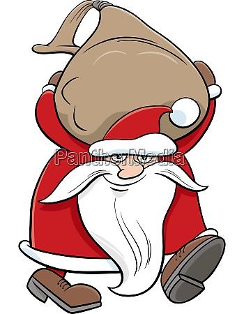 cartoon santa claus christmas character carrying