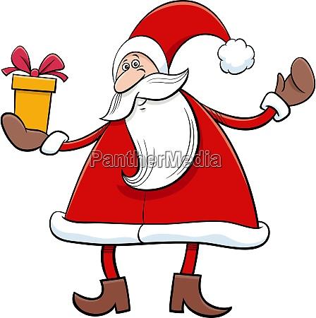 cartoon santa claus character with christmas
