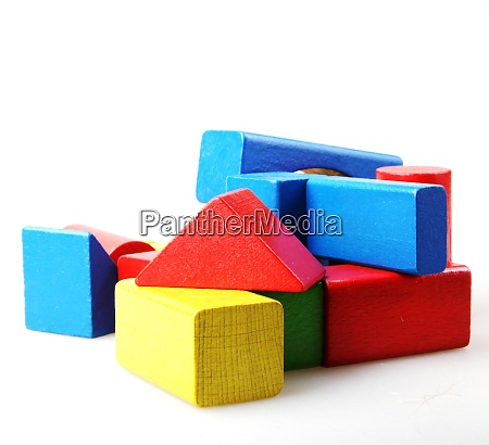 studio shot of colorful toy blocks