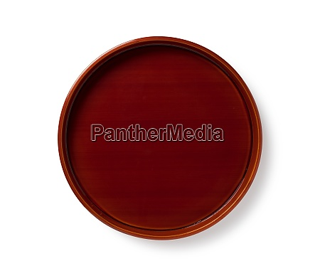wooden plate placed on white background