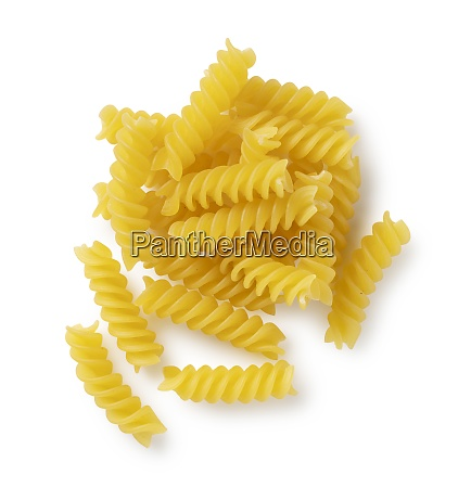 fusilli placed on a white background