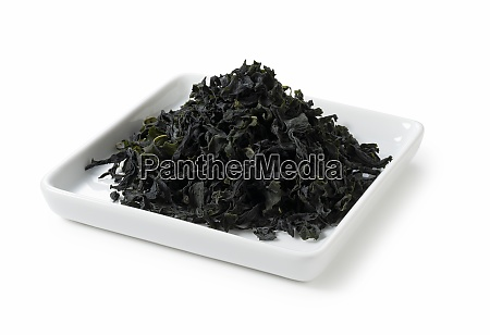 dried seaweed placed on white background
