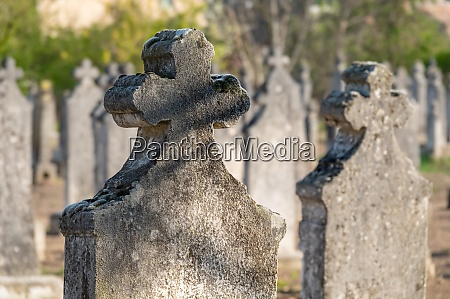 tombstone and graves in an ancient
