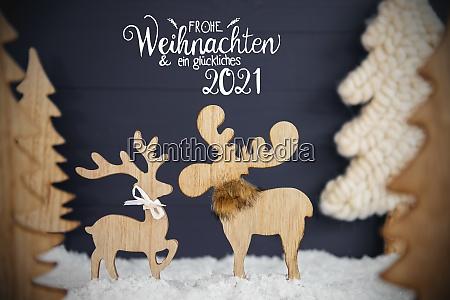 moose couple christmas tree snow glueckliches