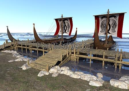 3d rendering vikings boats