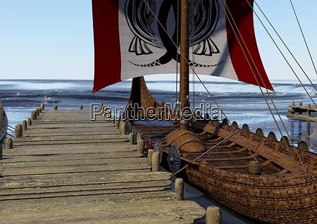 3d rendering vikings boat