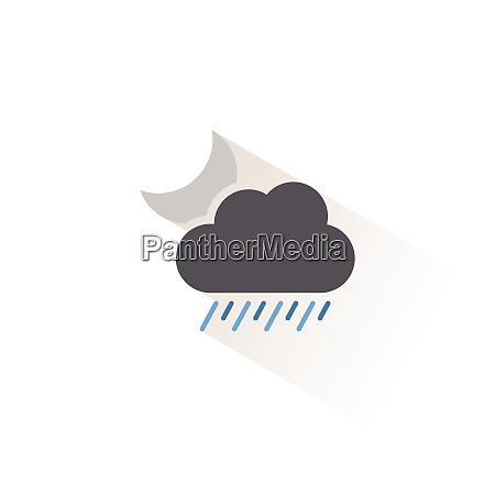heavy rain cloud and moon isolated