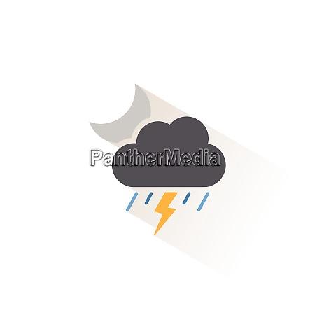 storm heavy rain and moon isolated