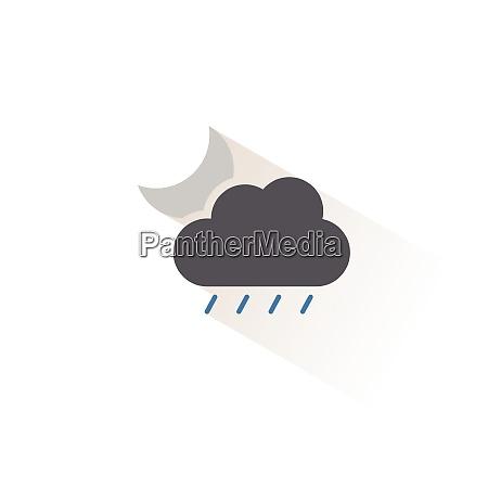 soft rain cloud and moon isolated