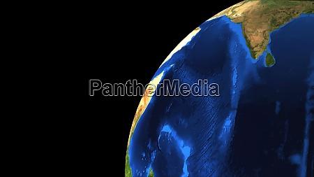 bright earth globe in the dark