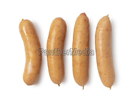 sausages placed on a white background