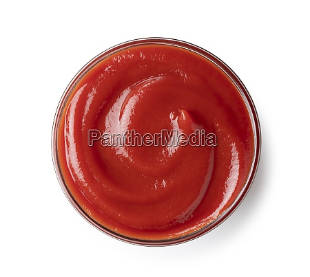 ketchup placed on a white background