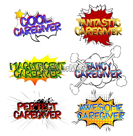 caregiver comic book style cartoon words